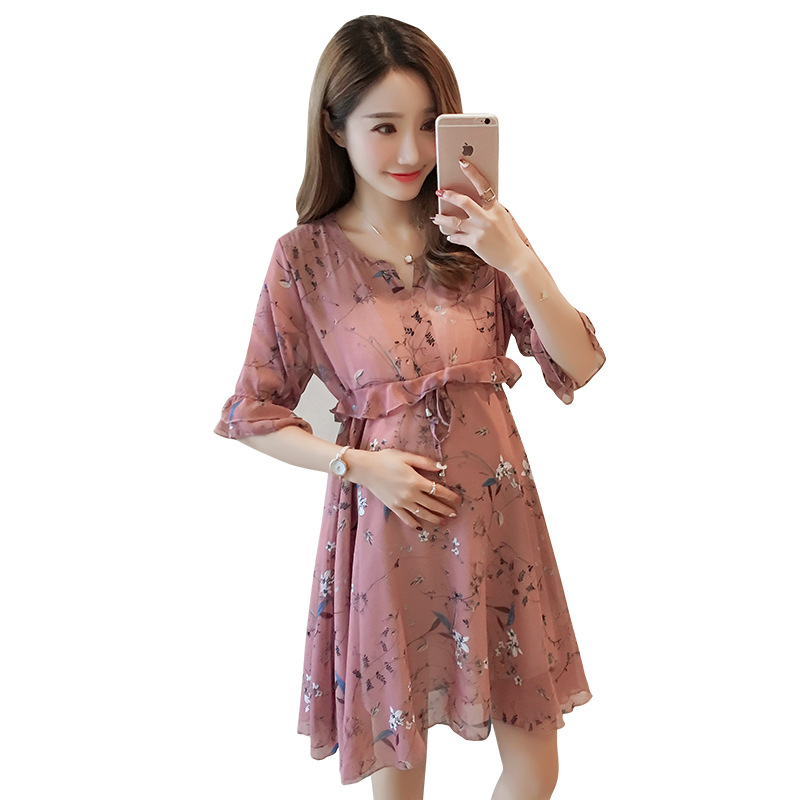 BONJEAN New Fashion Pregnant Women Chiffon Dress Pink Flower Planted Summer Pregnancy Clothes Loose Plus Size Maternity Dresses
