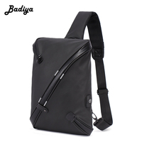 Men S Fashion Anti Theft USB Charging Phone Chest Bag Oxford Water Proof Single Shoulder Bag
