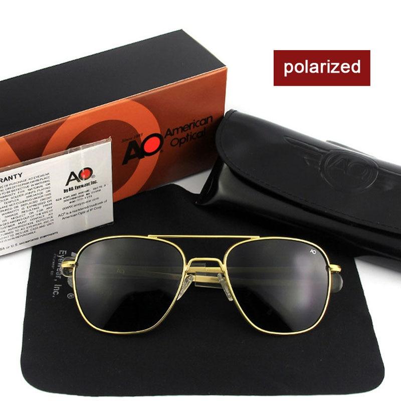 Fashion High Quality Brand Designer Sunglasses Men American Army Military Pilot AO Sun Glasses Male Polarized