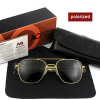 Fashion High Quality Brand Designer Sunglasses Men American Army Military Pilot AO Sun Glasses Male Polarized Glass Lens de sol