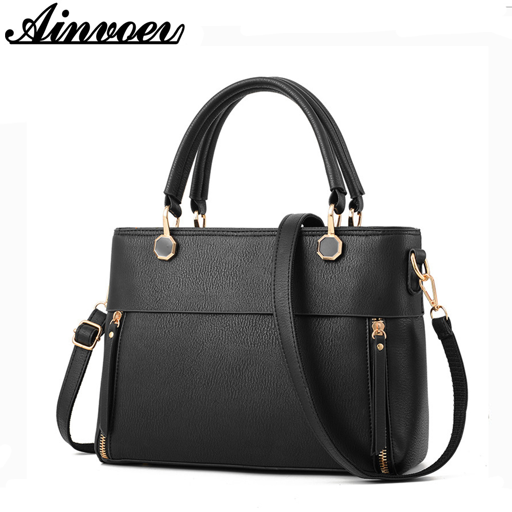 Ainvoev Women Bag Pu Leather Tote Brand Name Bag Ladies Handbag Lady Bags Solid Female Messenger Bags Travel Fashion Big a3123