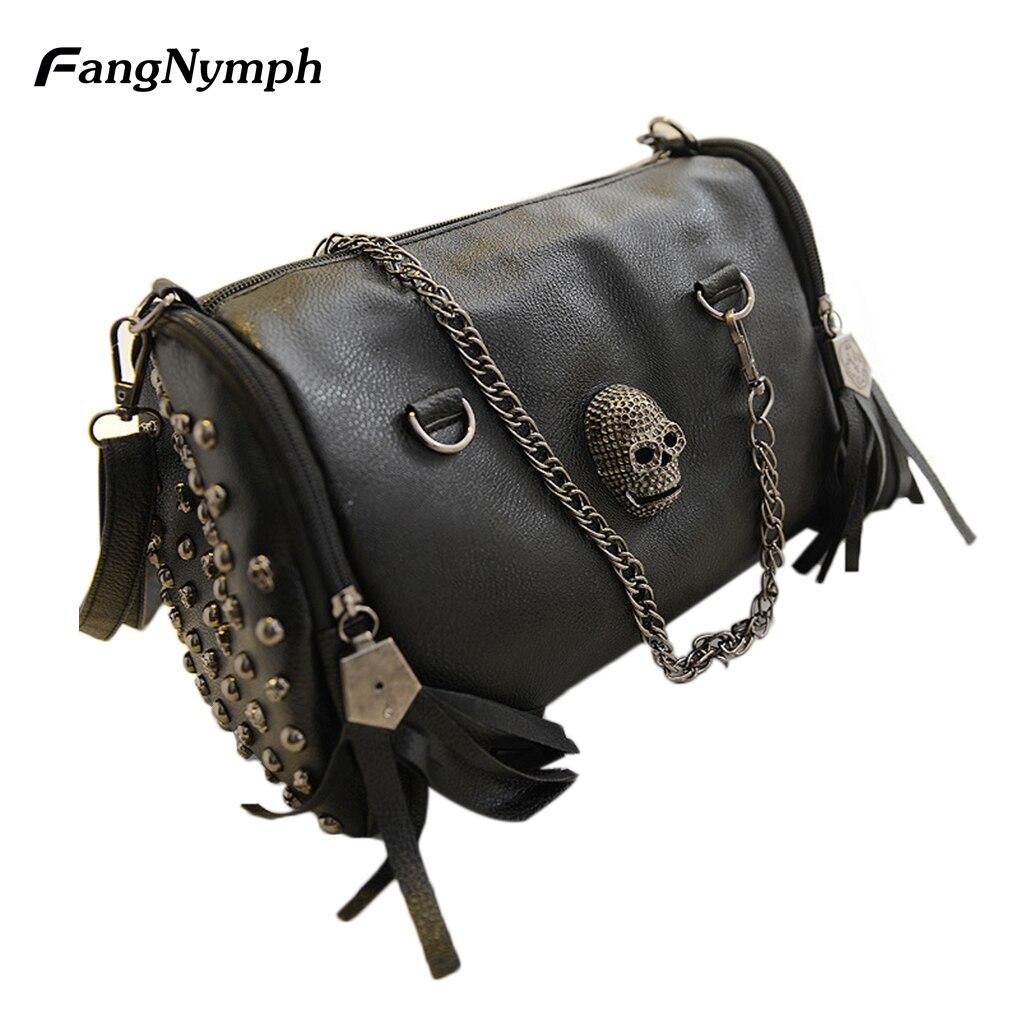 2017 new Women s Skull Rivet Handbag with Tassel Hanging Decoration Single Shoulder Bag