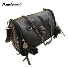 2017 new Women's Skull Rivet Handbag with Tassel Hanging Decoration Single Shoulder Bag
