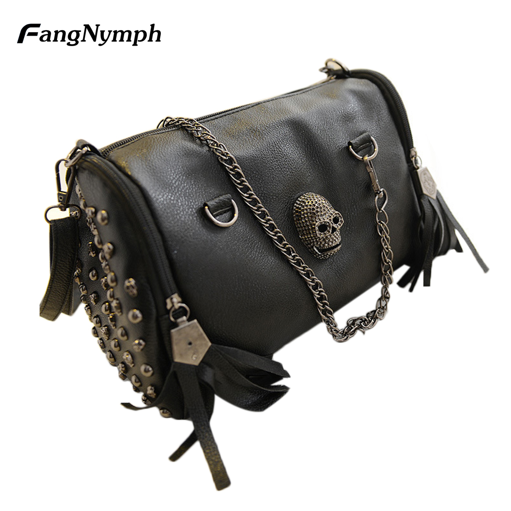 2018 new Women s Skull Rivet Handbag with Tassel Hanging Decoration Single Shoulder Bag
