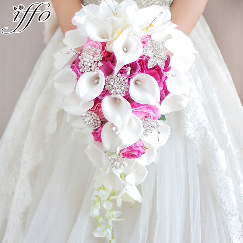 iffo Simulation roses calla lilies diamond studded flowers pearls butterfly bridal bouquet