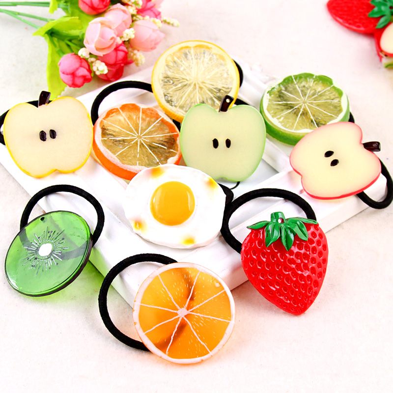 Big Size New Fashion Cute Lemon Hair Ropes Fruit Elastic Hair Rubber Bands For Women Girls Hair Ornaments Accessories Headbands
