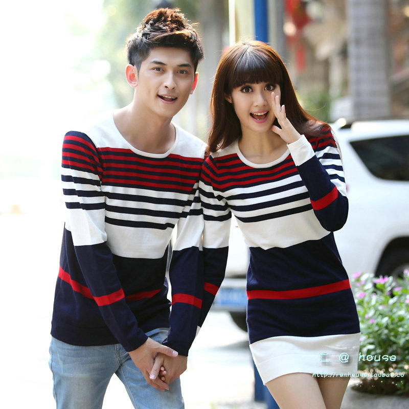 2013 lovers autumn and winter o-neck stripe slim sweater basic knitted sweater female long dress design male sweater summer casual bodycon dresses
