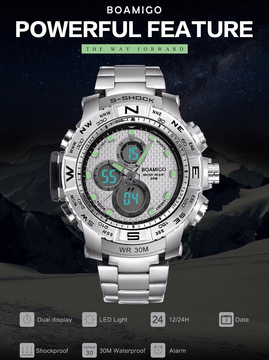 BOAMIGO Fashion Sport Man Watches Stainless Steel LED Digital Watch Analog Quartz Movement Waterproof Dual Display Wristwatches (4)