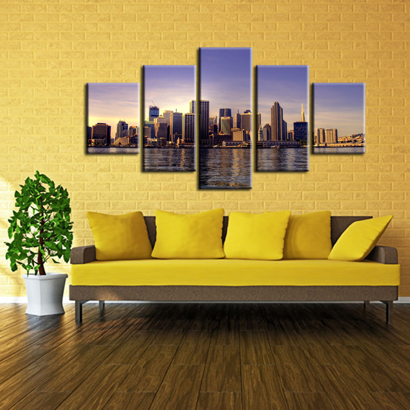 Wholesale 5 pieces set of Beautiful city landscape wall art for wall decorating homeDecorative painting on canvas XC City 49 in Painting Calligraphy from Home Garden