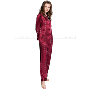 Image 3 - Ensemble pyjama en Satin de soie pour femmes, pyjama S,M, L, XL, 2XL, 3XL, vêtements de nuit Plus