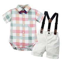 Baby Boy Clothes 2019 New Arrived Plaid Short Sleeve Romper Suit Newborn Clothing Set Clothes for Boy White Shorts