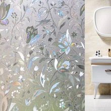 3D Laser Tulip Static Window Decorative Film Glass door Sticker Frosted Opaque Privacy Anti-UV bedroom bathroom Home Decor Decal