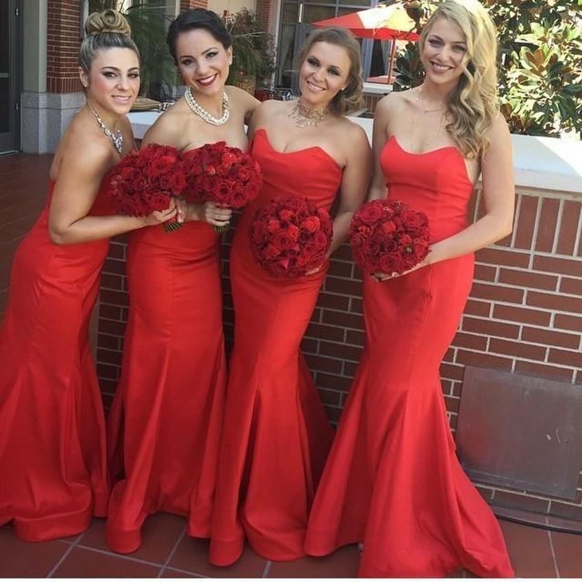 2019 nouvelles robes de demoiselle d'honneur sirène rouge chérie Satin plis longue robe de demoiselle d'honneur pour les robes d'invités de mariage
