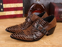 Blue Brown Alligator Shoes For Men Genuine Leather Mens High Heels Pointed Toe Classic Italian Buckle Strap Oxford