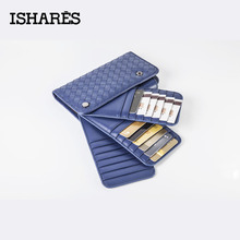 ISHARES High Quality Genuine Leather Women Weave Wallets Card & ID Holders Fashion Unisex Card Case Big Capacity IS6025