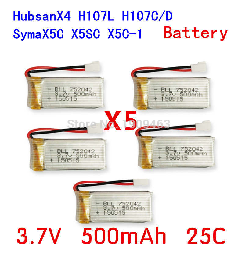 5pcs 3.7V 500mAh <font><b>Battery</b></font> For <font><b>Hubsan</b></font> X4 H107 H107L <font><b>H107C</b></font> H107D V252 JXD385 X5C X5 X5C-1 <font><b>Battery</b></font> image