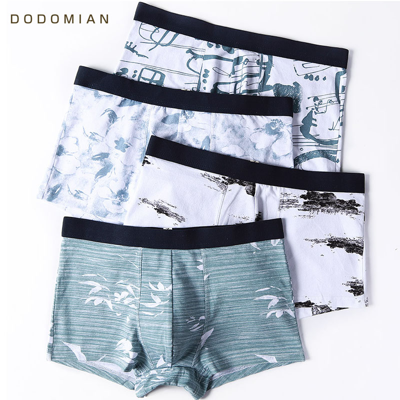 Panties Shorts Boxer Men Underwear 4pcs/Lot Cotton Ink-Painting Chinese-Style Male Hombre