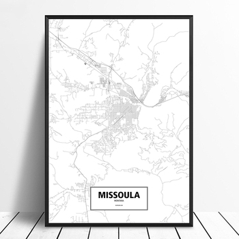 Missoula, Montana, United States Black White Custom World City Map Poster Canvas Print Nordic Style Wall Art Home Decor image
