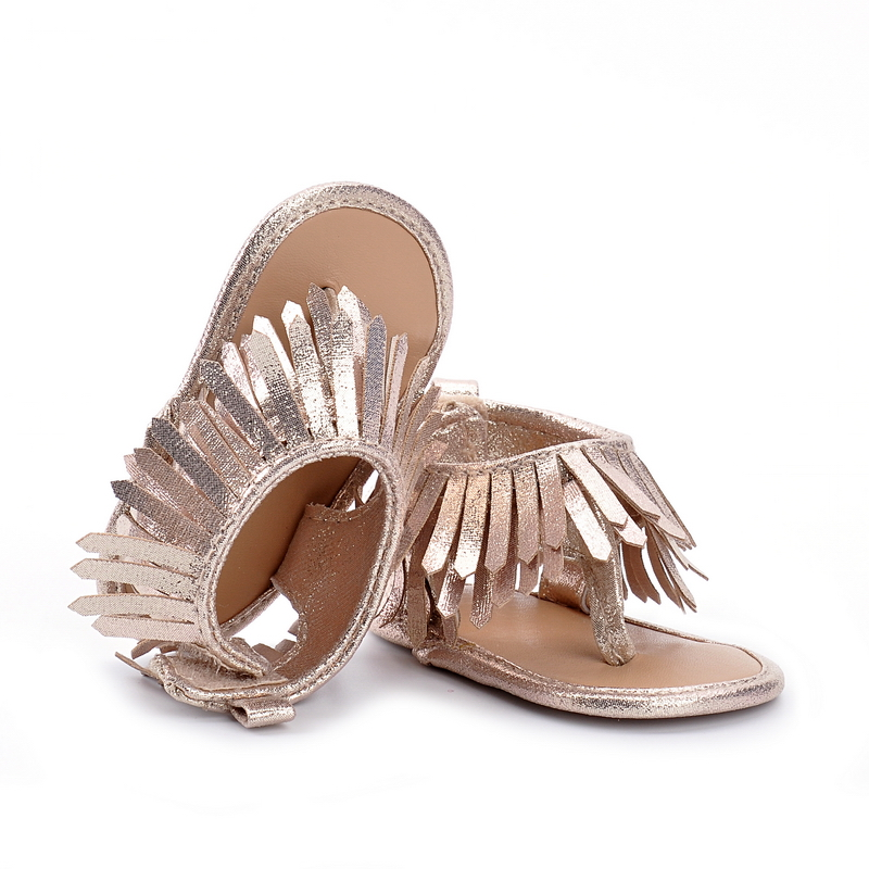 New 2018 fashion tassel summer gold Newborn baby sandals moccasins soft sole pu leather shoes toddle girls boys sandals