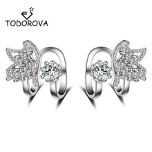Todorova Korean Fashion Cubic Zircon Butterfly Clip Earrings Without Piercing for Women Girls Party Sweet No Hole Ear