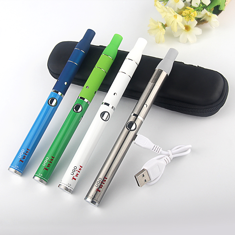 510 Dry Herb Vaporizer Pen UGO Twist Vape Battery 650mah 900mah Voltage Variable eGo EVOD510 Thread Twist Batteries Ago Atomizer
