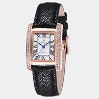 Wwoor 2017, Новая мода часы Для женщин кожаный браслет Повседневные часы из розового золота прямоугольник случае часы с синим указателем для дам