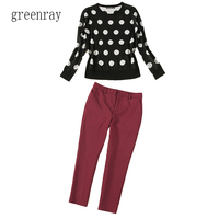 Fashion Women Set Trouser Suit Black White Polka Dot Woollen Sweater Top Neck Short Sleeve Top