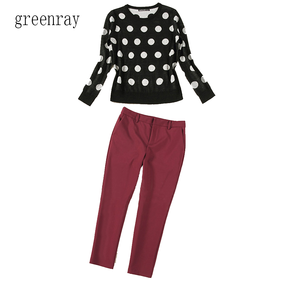 Spring fall women pant set trouser suit black white polka dot spring fall women pant set trouser suit black white polka dot woollen sweater jumper jersey topred cropped jeans 2 piece outfit in womens sets from sisterspd