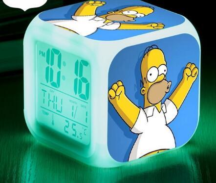 The Simpsons LED Alarm Clock Watch Homer Jay Simpson reloj despertador Snooze clock saat Touch Night Lighting Up Digital Clocks