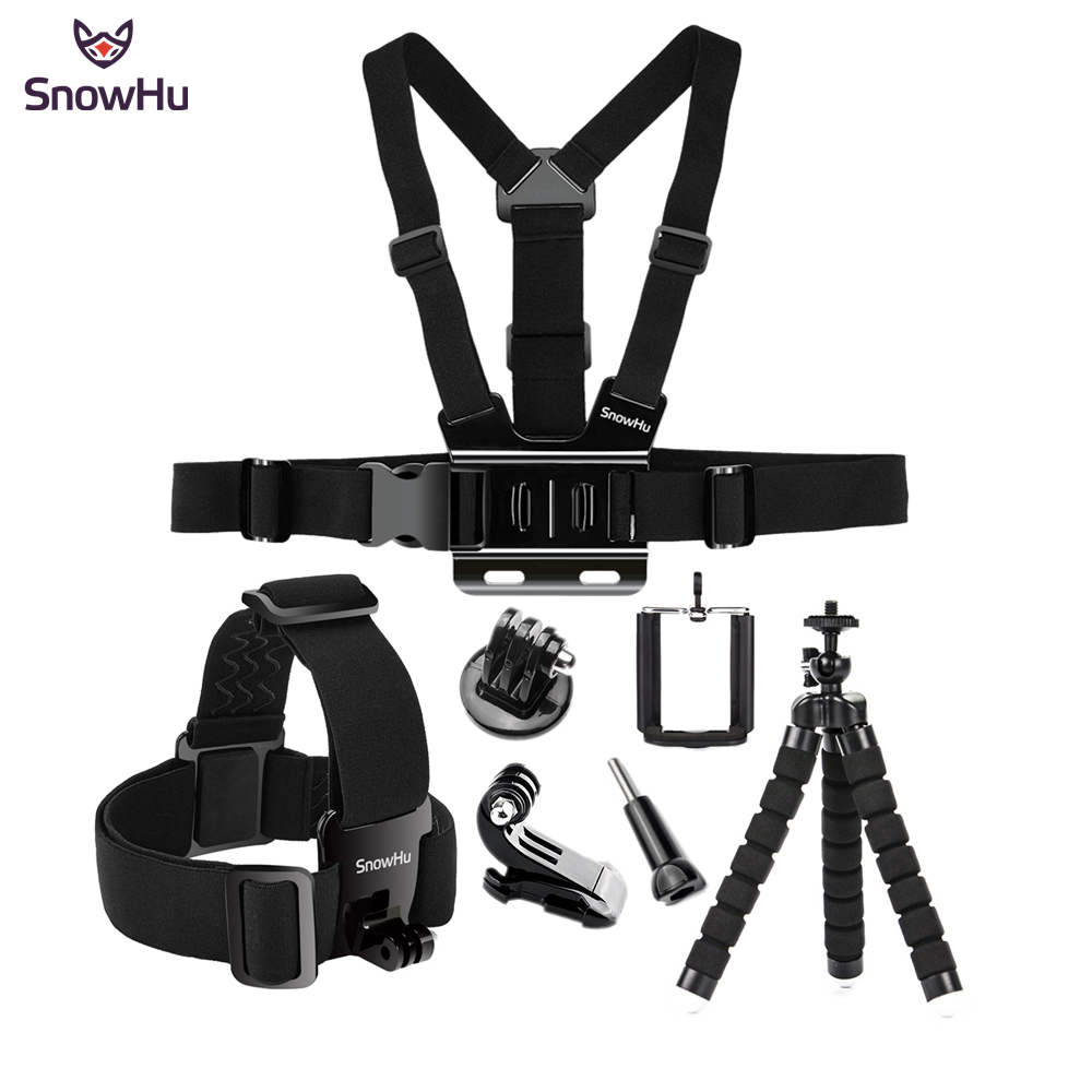 SnowHu for Gopro 7 6 5 4 Accessories set Head Belt Strap Mount Adjustable For Gopro Hero 7 6 5 4 3+ for SJCAM Xiaomi Yi GS65 qqt for gopro hero accessories strap mount set with selfie stick for gopro hero 6 5 4 3 3 2 xiaomi yi 4 k sjcam eken camera
