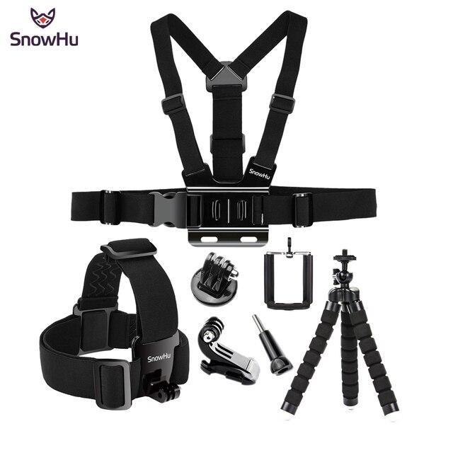 SnowHu voor Gopro 8 7 6 5 4 Accessoires set Hoofd Riem Mount Verstelbare Voor Gopro Hero 8 7 6 5 4 3 voor SJCAM Xiaomi Yi GS65