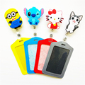 Cute Cartoon Silicone card case holder Bank Credit Card Holders Card Bus ID Holders Identity Badge with Cartoon Retractable Reel