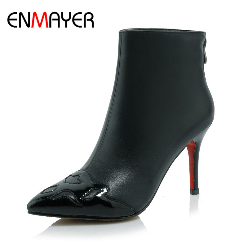ФОТО ENMAYER High Heels Cow Split Pointed Toe Appliques Black Beige Shoes Woman Zip Ankle Boots for Women Winter Warm Boots Shoes
