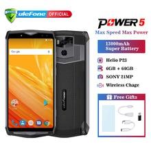Ulefone power 5 13000 мАч Мобильный телефон Android 8,1 6,0 «FHD MTK6763 Восьмиядерный 6 ГБ + 64 ГБ 21 МП Лицо ID беспроводной зарядки 4G смартфон