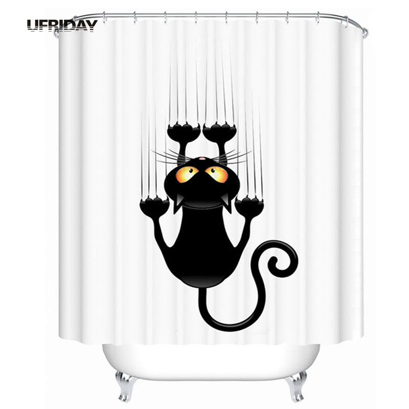 UFRIDAY 3D Cat Shower Curtain Waterproof Polyester Fabric Bath Curtains Cartoon Cartoon Funny Black Cat Bathroom Shower Curtains