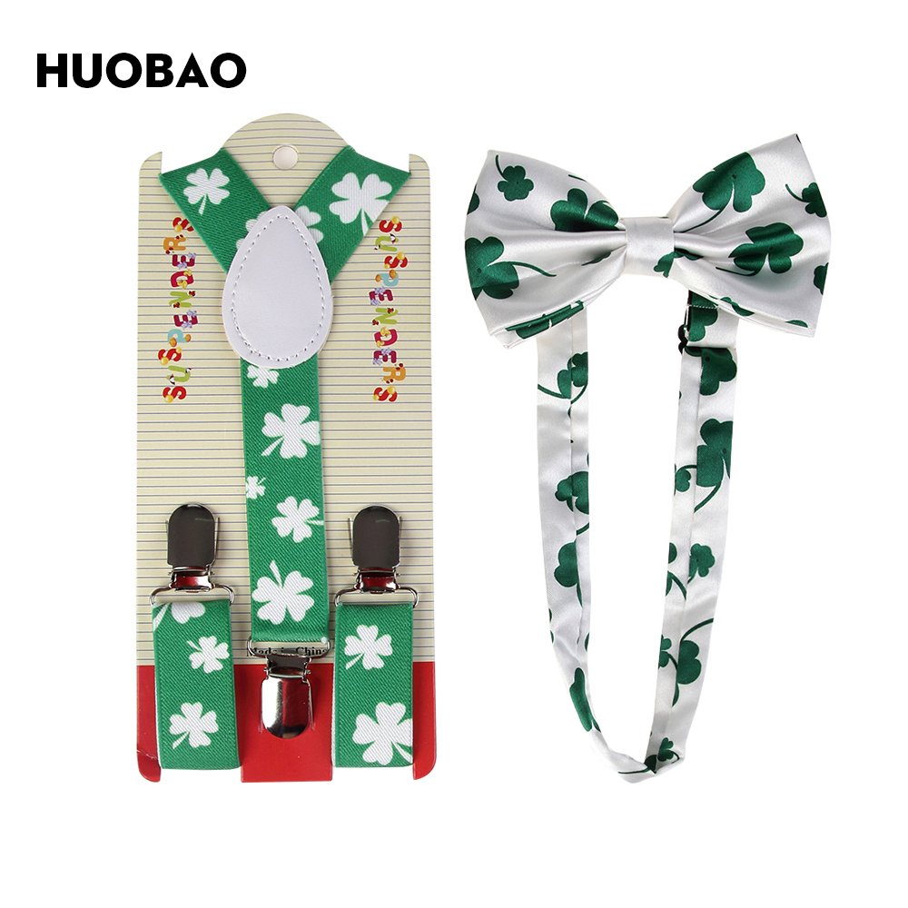 HUOBAO 2018 New Fashion Green Clover Floral Bow Ties Suspenders Sets For Boys Girls Kids
