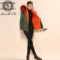 Бесплатная доставка Новые Стильные трикотажные из искусственного меха внутри с большой из меха енота пальто зимой