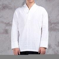 Casual Shirts Cotton Linen Men Shirt Three Quarters Sleeve Leisure Shirts Vintage Retro Chinese Style Shirt Men Clothes TS 391
