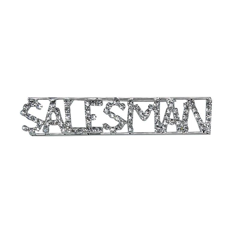 Custom Professions&Jobs Theme Crystal Lapel Pin SALESMAN Word Brooch Gift Wholesale 6PCS/LOT FREE SHIPPING
