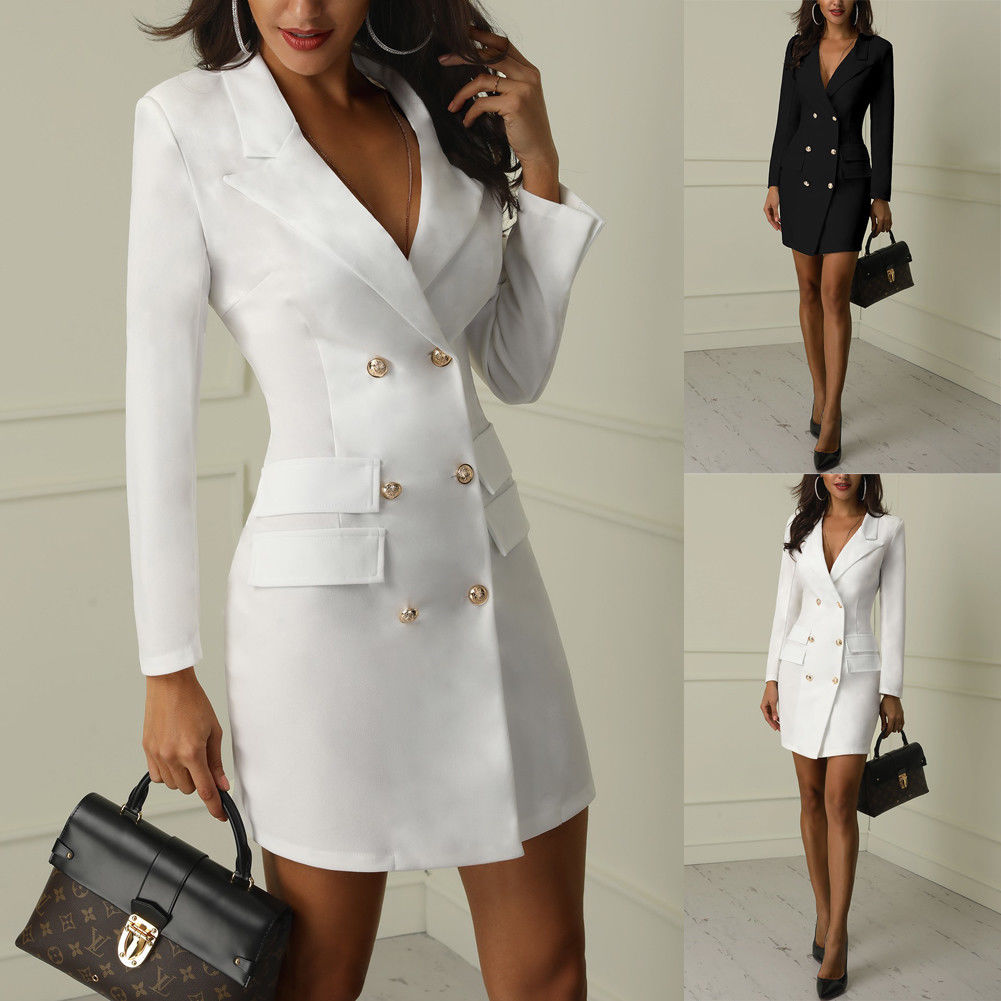 Black White Autumn Winter Casual Double Breasted Blazer Women Long Jackets Pocket Long Sleeve Blazers Suit Outerwear