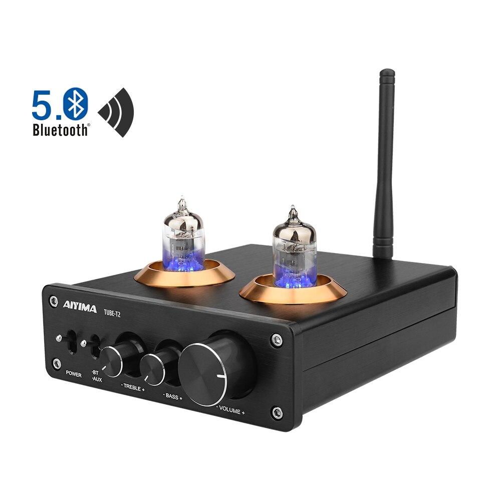 6J1 AIYIMA Bluetooth 5.0 de Alta Fidelidade do Tubo de Vácuo Amplificador Preamp Amplificador Estéreo Com Graves Agudos Controle De Som de Cinema Em Casa