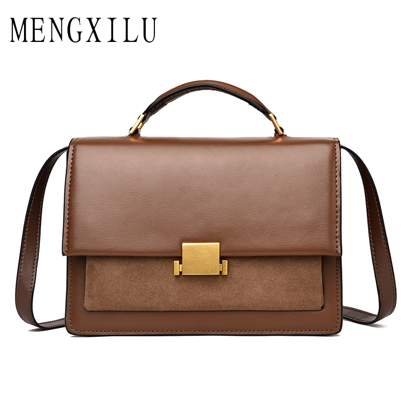 Mengxilu Real Leather Crossbody Bags for Women Messenger Bags Handbags Women Famous Brand Designer High Quality Shoulder Bags burminsa brand winter round saddle genuine leather bags smiley designer handbags high quality shoulder crossbody bags for women
