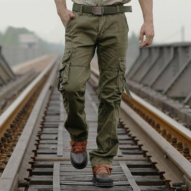 2016 New Men's Combat Casual Combat Pants Cotton Jungle Military Army Cargo Pants Long Trousers for Men kargo pantolon