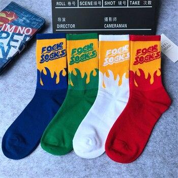2018 New Fashion Summer Women Cotton Socks Flame Pattern Hip Hop Skateboard Funny Socks Female Casual Meias Woman Sox Unisex Women Socks