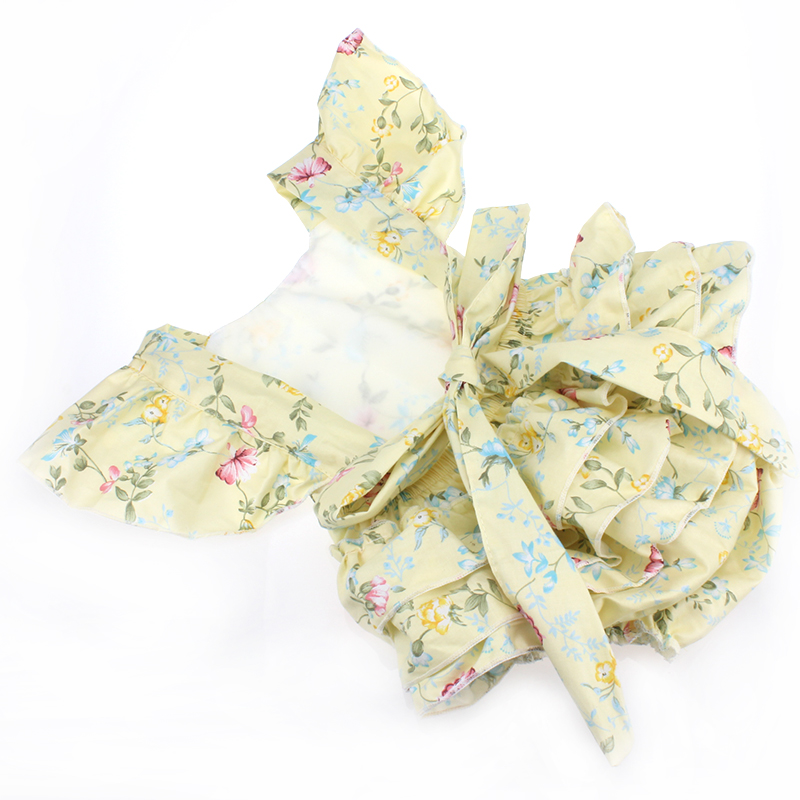 new summer style girls floral ruffle diaper cover headband sets vintage floral light yellow rompers newborn outfits free shippin