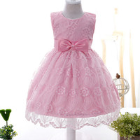 0 2Years Baby Lace Dress Princess Girls Birthday Party Baptism Bowtie Dresses Toddler Boutique Summer Clothing