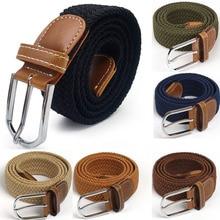 Мужской Эластичный эластичный пояс, черный холщовый эластичный плетеный кожаный ремень, широкий металлический эластичный пояс для мужчин