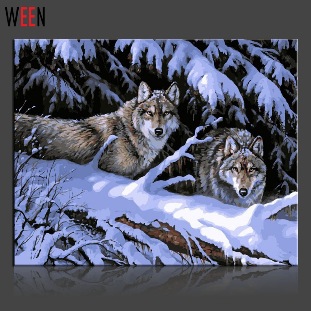 WEEN Snow Wolf Diy Painting By Numbers Abstract Animal Oil Painting On Canvas Forest Cuadros Decoracion Acrylic Wall Art 2018 in Painting Calligraphy from Home Garden