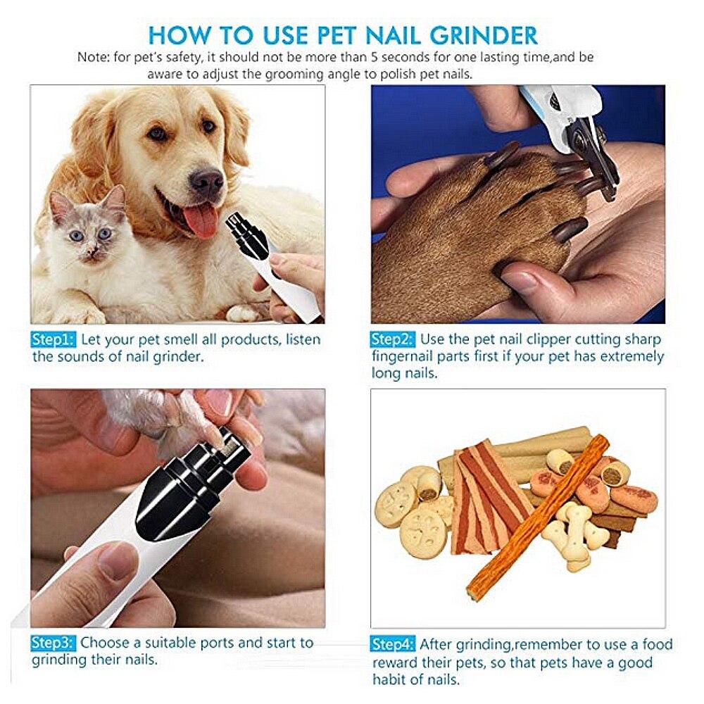 Электрический шлифовальный для ногтей для домашних животных, для лап для собак, инструмент для ухода за ногтями, машинка для стрижки ногтей для кошек, Обрезной, зарядка через usb, товары для домашних животных