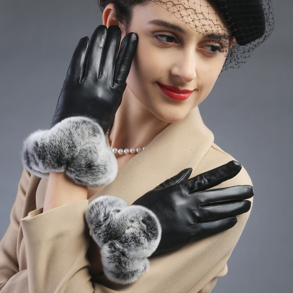 Womens leather gloves with touch screen fingers - 2017 Fashion Women Leather Gloves Genuine Leather Sheepskin Rabbit Fur Cuff Glovestouch Screen Gloves Mittens Free